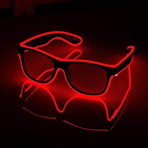 LED-Brillen Mode Nacht Leuchten Gläser Multicolor Light Up Brillen Für Party Festival Kostüm Club (Rot)