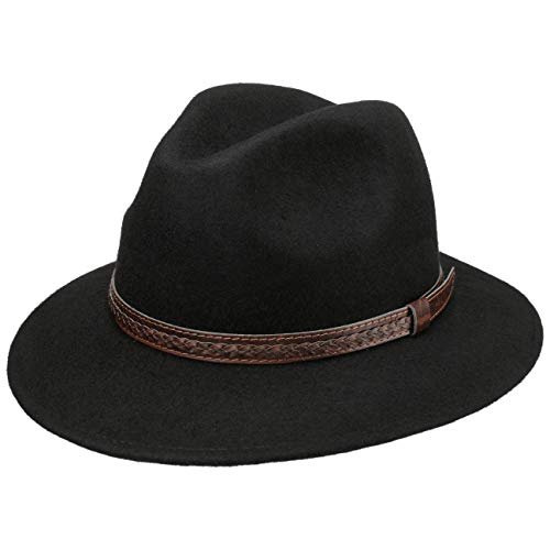Lipodo Chapeau Kentucky en Laine Femme/Homme - Made in Italy Chapeaux pour Homme de Feutre avec Bandeau Cuir Printemps-ete - XL (60-61 cm) Noir