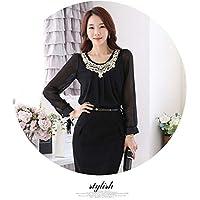 Stylish Womans Sleeve Chillfon Blouse Top - Black