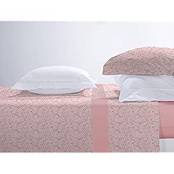 Juego de cama franela 100% algodón Manterol 451 color rosa cama de 90