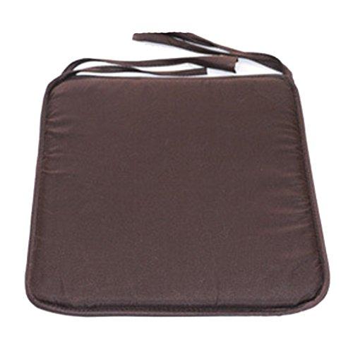 SIMPVALE - Juego de 4 Cojines de Silla con Cordones, Colores Lisos, marrón café, 40 x 40 x 1 cm