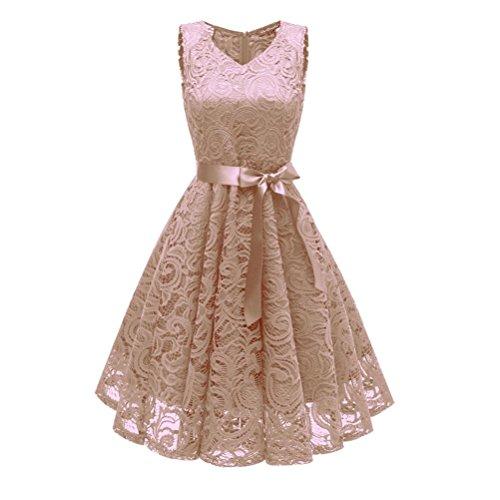 Damen Vintage Prinzessin Blumen Spitzekleid,TWIFER Cocktail V-Ausschnitt Party A-line Swing Kleid Abendkleider Hochzeitskleid (S, ()