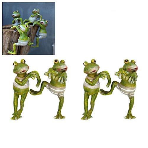 Comtervi Frosch Deko Set, Kunstharz Aufhängen Klettern Frosch Ornaments Topfpflanzen für Yard/Rasen/Fairy Garden Decor Handgefertigt Indoor/Outdoor 4 Stück -