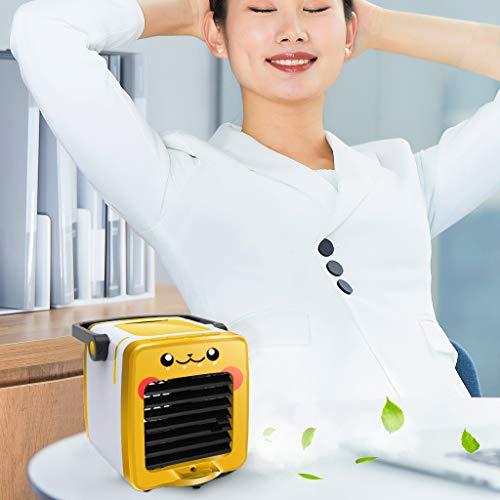 Jamicy® Mini Air Cooler, Luftkühler Luftbefeuchter Luftreiniger, USB Kühler Mobile Klimageräte, Luftbefeuchter Ventilator, Mobile Klimaanlage Klimagerät (Gelb)