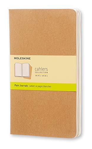 Moleskine Cahier Journal, Set 3 Quaderni con Pagina Bianca, Copertina in Cartoncino e Cucitura a Vista, Colore Marrone Avana, Dimensione Large 13 x 21 cm, 80 Pagine