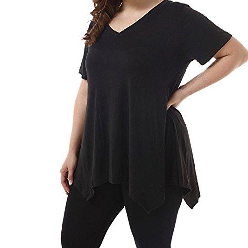 Kobay Women T-Shirt Tops, Ladies' Short Sleeve V-Neck Irregular Hem Loose Casual TeeTank Tops Blouse Summer