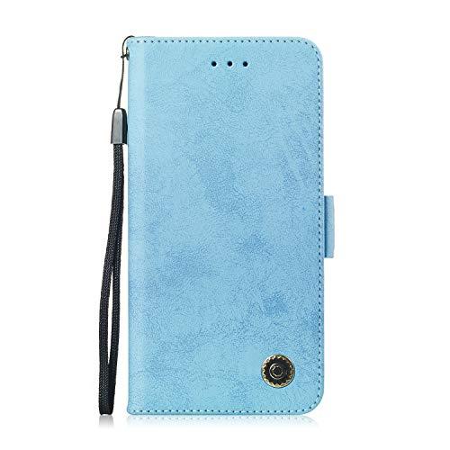 Carols Coque Huawei P Smart, Huawei P Smart/Huawei Enjoy 7S Coque Dragonne Portefeuille PU Etui TPU Bumper Case - Bleu