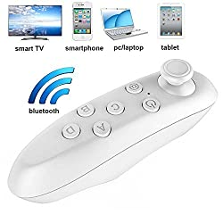 US1984 Original VR Box Remote Bluetooth Controller - Portable Wireless Bluetooth Remote Controller & Wireless Mouse with Joystick for VR Box 3D Headset Glasses - Takes Selfie Pictures & Plays Music, Movies, Games, eBooks & Videos - Works with PC, Laptop, Tablet, Apple iPhone iOS, Android, Windows & Blackberry Smart Phone - Mini Universal Game Controller - Comes in White or Black Colour