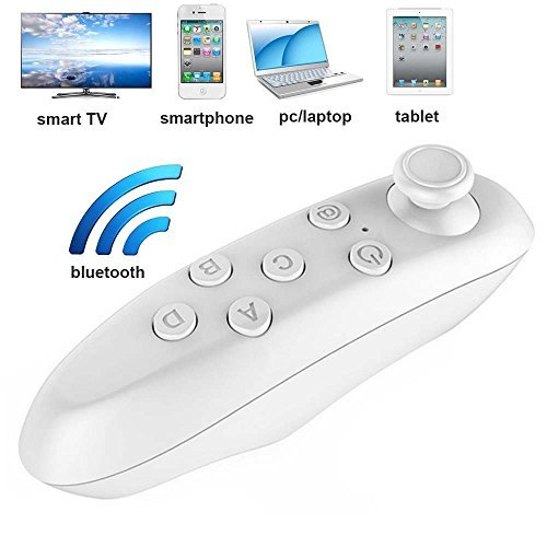 US1984® Original VR Box Remote Bluetooth Controller - Portable Wireless Bluetooth Remote Controller & Wireless Mouse with Joystick for VR Box 3D Headset Glasses - Takes Selfie Pictures & Plays Music, Movies, Games, eBooks & Videos - Works with PC, Laptop, Tablet, Apple iPhone iOS, Android, Windows & Blackberry Smart Phone - Mini Universal Game Controller - Comes in White or Black Colour  available at amazon for Rs.299