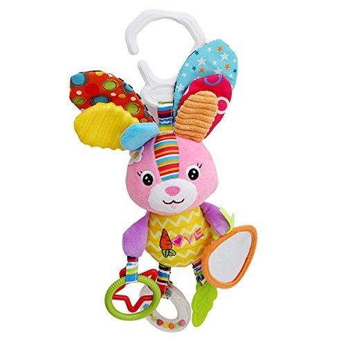 Lalang Baby Spielzeug, Kleinkindspielzeug,Beschwichtigen Schlaf Spielzeug, Bettchen, Kindersitz und Kinderwagen Hängenden Plüschtier (Kaninchen)