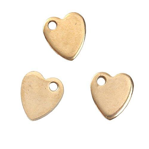 SiAura Material 5x Herz Anhänger Metall Goldfarben, 9 x 10 mm (Moderne Herz-anhänger)