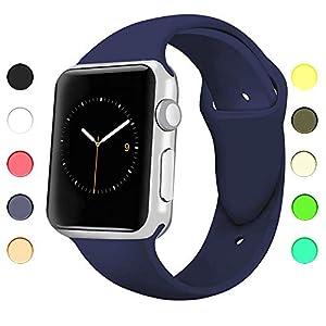 Appolis Apple Watch Bracelet, Sport Bandes de Montre Interchangeable en Silicone, Bracelet de Rechange, Fitness de Montre de Bande, pour Apple Watch Series 1/2/3, 38mm/42mm (Bleu Nuit, 42mm)