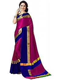 High Glitz Fashion Women's Pink & Blue Colour Poly Cotton Saree With Blouse Piecs