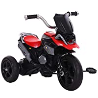FJ-MC Kids Tricycle, Simulated Motorcycle Appearance, Children 3 Wheel Pedal Bike, for 2-7 Years Kids and Toddlers,Red