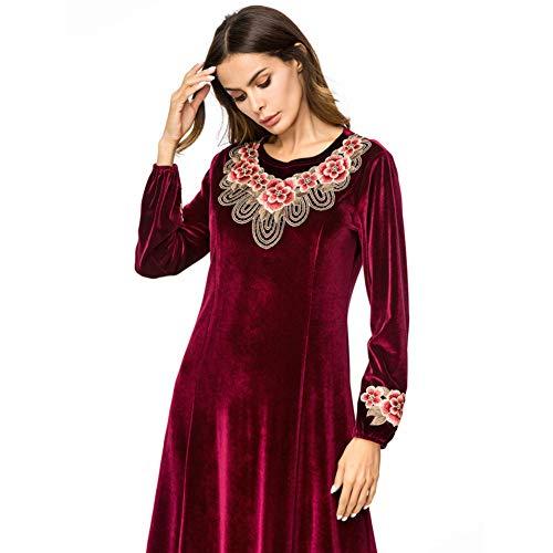 QAQBDBCKL Velour Muslim Abaya Kleid StickereiDubai Kleidung Langes Kleid Vintage Marokkanische Kaftan Arabische Roben -