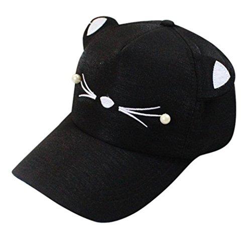Bellelove Spring Fashion Gezeiten Pearl Wild Cute Student Katze Ohren Visor Baseball Cap (Schwarz)