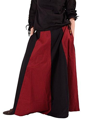 Mittelalterlicher Rock, weit ausgestellt aus schwerer Baumwolle Mittelalter LARP Wikinger Kostüm verschiedene Ausführungen (M, Schwarz/Rot)