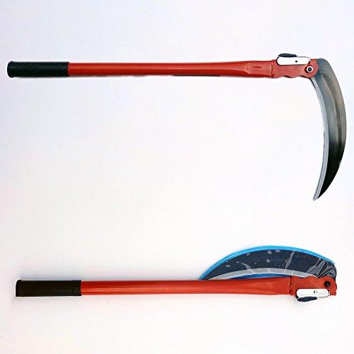 OUNONA Stahl Gefaltete Langarm Griff Sensensichel Garten Werkzeug für Gartenarbeit Jäten Anbau (Rot)
