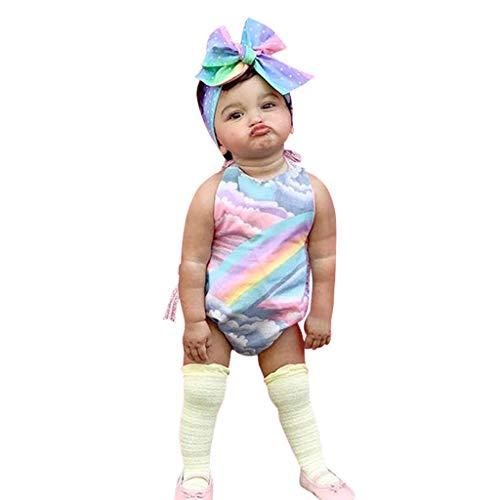 LEXUPE Ärmelloser Body mit Regenbogenmuster und Stirnband für Säuglingsbabys(Hellblau,90)
