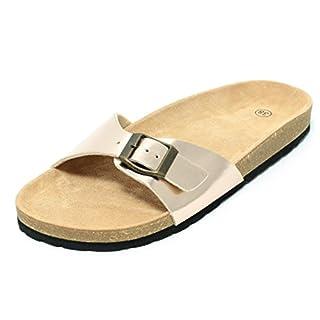 Zapato Damen Bio Clogs Pantolette Sandale Slipper Tieffußbett Rosegold Metallic Gold Gr. 37–41 (41)