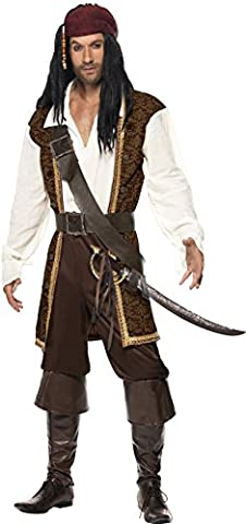 Smiffy's Adult Men High Seas Pirate Costume, Top, Short trousers, Baldric, Belt and Headscarf, Pirate, Serious Fun, Size L, 26224