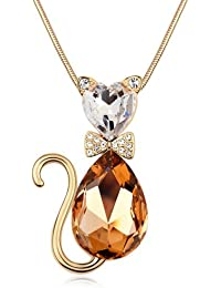 Marenja Women's Rose-Gold-Plated Long Chain / Necklace with Elegant Cat Crystal Pendant with Butterfly Bow and Brown Austrian Crystal 80 - 85 cm - Perfect Gift for Mothers
