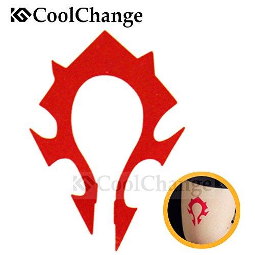 CoolChange WoW temporärer Tattoo Aufkleber, Motiv: Wappen der Horde (Troll Kostüm Wow)