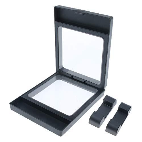 Gazechimp 3D Schwimmende Schmuck Münze Display Frame Case Box Rack Halter - Schwarz 11x9cm