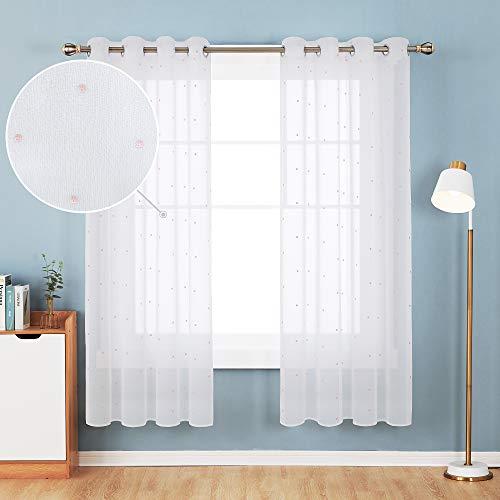 Deconovo Voile Vorhang mit Ösen Dekosachl Transparent Stores Gardinen Kinderzimmer Gardinenschals 175x140 cm Rosa Punkt