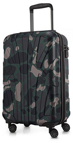 SUITLINE - Handgepäck Hartschalen-Koffer Koffer Trolley Rollkoffer Reisekoffer, TSA, 55 cm, 34 Liter, Camouflage