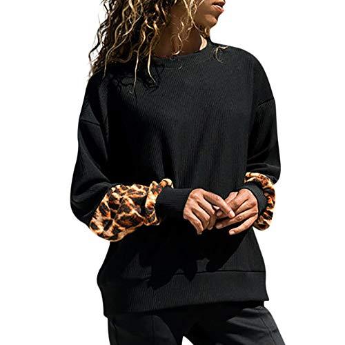 ❤️ Sudadera Mujer Manga Leopardo, Estampado Leopardo de la Mujer Manga Larga Empalme suéter Blusa Camisas Sudadera Absolute