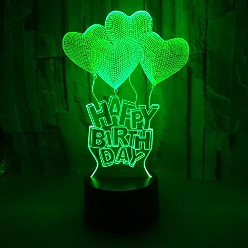 Alles- Gute zum Geburtstag romantische Valentine Heart 3D Light Creative Desktop 3D Tischleuchte