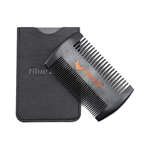 Schwarz Spray Painted Birnenholz Kamm Anti-Statik-Kopfmassage Pflege PU-Leder Tasche Beidseitiges Beard Comb