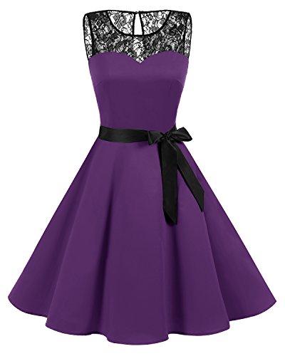 bbonlinedress 1950er Ärmellos Vintage Retro Spitzenkleid Rundhals Abendkleid Purple M