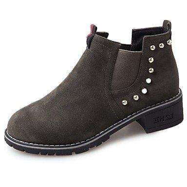 RTRY Scarpe Donna Nubuck Pelle E Camoscio Caduta Comfort Stivali Tacco Piatto Chunky Tallone Punta Tonda Mid-Calf Boots Gore Per Casual Army Green Nero US8.5 / EU39 / UK6.5 / CN40