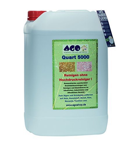 AGO ® Sauberkeit für Haus und Garten Quart ® 5000 Hochkonzentrat Grünbelagentferner 25 Liter Konzentrat. Gegen Algen und sonstige Grünbeläge auf jedem Material, Chlor- und Säurefrei BAuA-N25201
