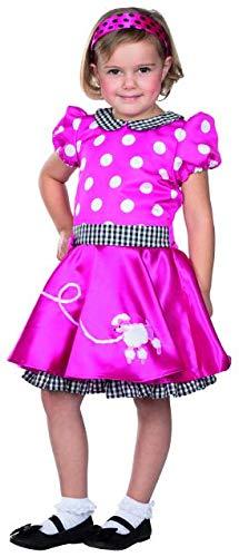 Rubie's Fiftys Kleid pink gepunktet Pudel Größe 140 Kinder Karneval Rocke Billy Kostüm (Pudel Kleid Kostüm Kinder)