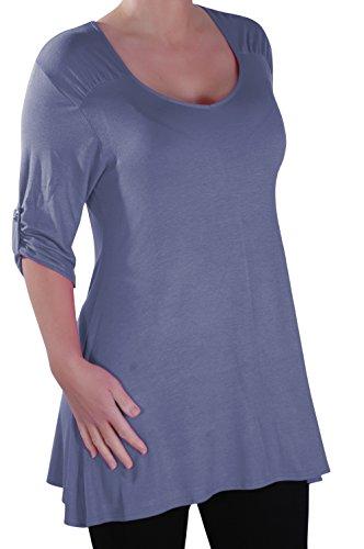 Eyecatch - Stella Aux Femmes À Encolure Dégagée Tunique Grande Taille Dames T-Shirt Chemisier Denim Bleu