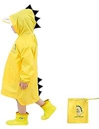 Enbihouse Kids Chubasquero Chaqueta Impermeable para niños Impermeable Rain Poncho Lluvia Rain Wear Cute Unisex Storm Break Rain Slicker para Chicos Chicas