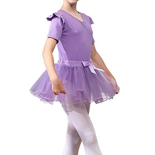 Lefuku Enfant Fille Justaucorps de Gymnastique Ballet Danse Dancewear Manches Courte avec Self-Tie Jupe en Mousseline (Violet 120cm)