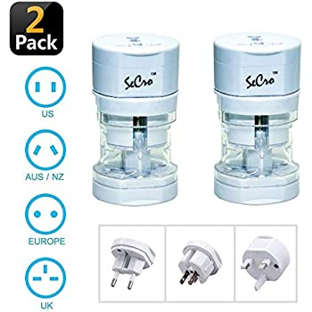 SeCro International Travel Adapter All in One (EU, US,AUS,NZ,Europe,UK) 150+ Countries (2 Pack)