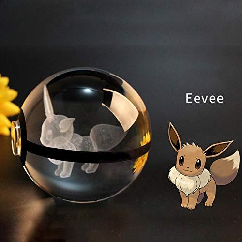 iBaste Nachtlicht Tischlampe 3D LED Crystal Ball Lamp 5cm Kugel mit Ständer Pokemon Deko Kristallkugel für Haus oder als Geschenk - Led Crystal Ball