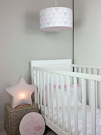 luminaire enfant lampe de plafond suspension blanc avec triangle rose gris clair. Black Bedroom Furniture Sets. Home Design Ideas