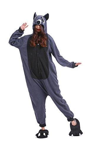 YUWELL Tier Kostüm Pyjama Unisex Animal Cosplay kigurumi Tierkostüme Jumpsuit Erwachsene Schlafanzug, Graue Waschbären M (Height:160-170cm) (Miss Match Kostüm)
