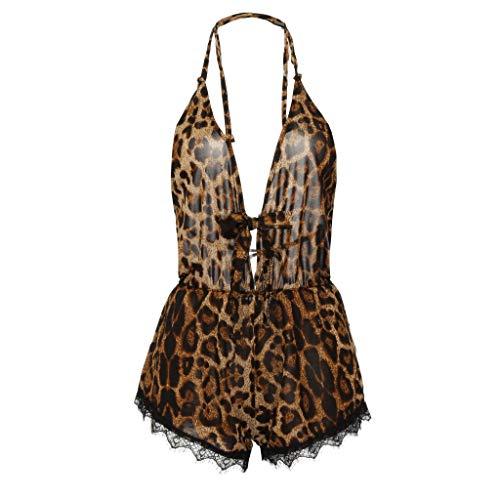 Yanhoo Damen Plus Größe Sexy Dessous Schleife Spitzenbesatz Leopard Strampler Body Unterwäsche...