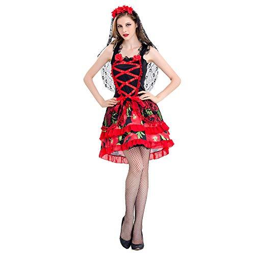 ostüm Geist Braut Party uniform Vampir Teufel ds Show kostüm königin Kleid (einschließlich Kopfbedeckungen + Rock),Red,M ()