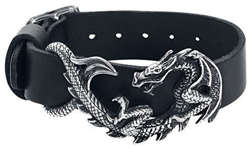 Alchemy Gothic Maelstrom Leather Wristrap Lederarmband schwarz/silberfarben