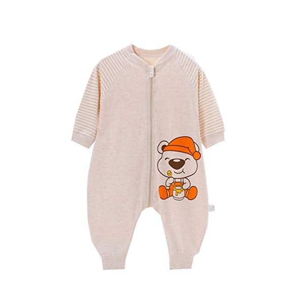 Eastery Saco De Dormir De Verano para Bebé con Patas 0.5 Estilo Simple TOG Saco De Dormir Unisex para Niños Pequeños Pijama De Mameluco para Bebé Algodón Suave Beige Etiqueta Baer90 Tamaño del