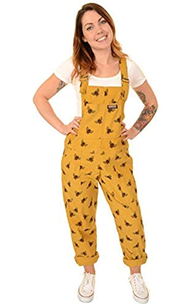 Run and Fly Yellow Mustard Cord Bee Unisex Baggy Oversized Retro Dungarees