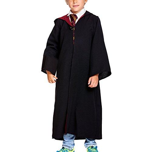 Elbenwald Zauberer Robe mit Kapuze für Kinder für Harry Potter Fans schwarz rot - 164